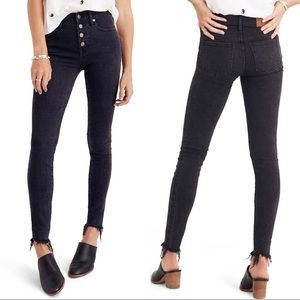 "Madewell 9"" Button Front Faded Black Skinny Jeans"